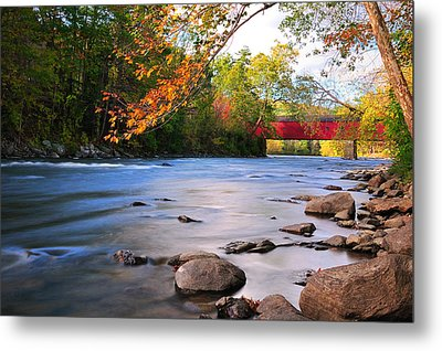 West Cornwall Covered Bridge- Autumn  Metal Print by Thomas Schoeller
