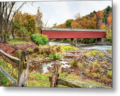 West Cornwall Covered Bridge - Housatonic River  Metal Print by Gary Heller