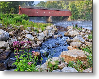West Cornwall Covered Bridge Summer Metal Print by Bill Wakeley