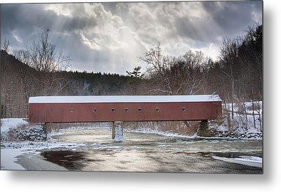 West Cornwall Covered Bridge Winter Metal Print by Bill Wakeley