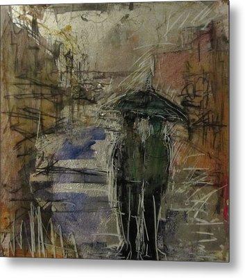 West End Rain Metal Print by Debbie Clarke