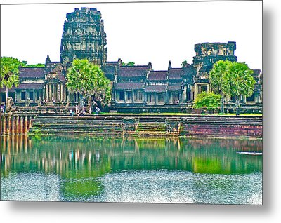 West Gallery From Across Moat In Angkor Wat In Angkor Wat Archeological Park Near Siem Reap-cambodia Metal Print by Ruth Hager