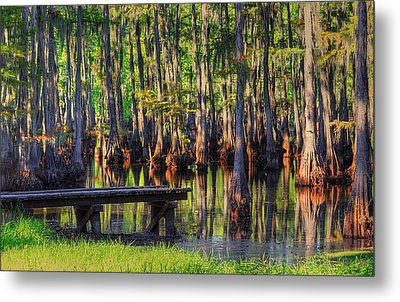 West Monroe Swamp Dock Metal Print by Ester  Rogers