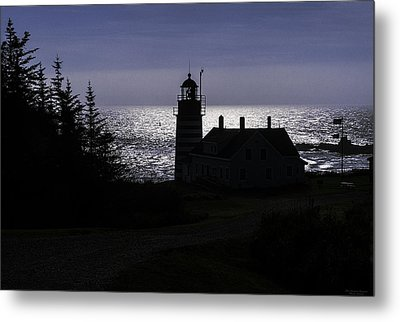 West Quoddy Head Light Station In Silhouette Metal Print