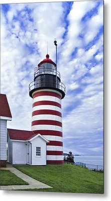 West Quoddy Head Lighthouse And Clouds Metal Print by Marty Saccone