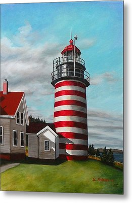 West Quoddy Head Lighthouse Metal Print by Eileen Patten Oliver