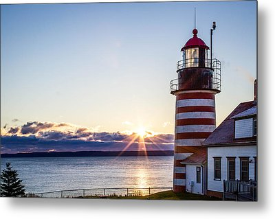 West Quoddy Head Lighthouse Sunrise  Metal Print