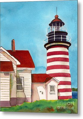 Metal Print featuring the painting West Quoddy Light House by Nan Wright