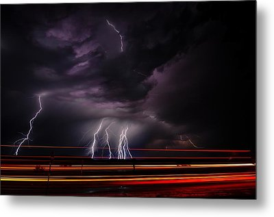 West Texas Lightning Storm Metal Print