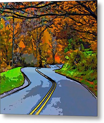 West Virginia Curves 2 Line Art Metal Print by Steve Harrington