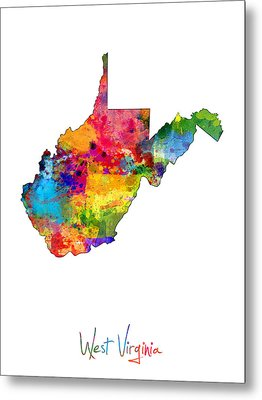 West Virginia Map Metal Print by Michael Tompsett
