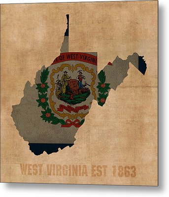 West Virginia State Flag Map Outline With Founding Date On Worn Parchment Background Metal Print by Design Turnpike