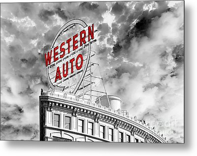 Western Auto Sign Downtown Kansas City B W Metal Print by Andee Design