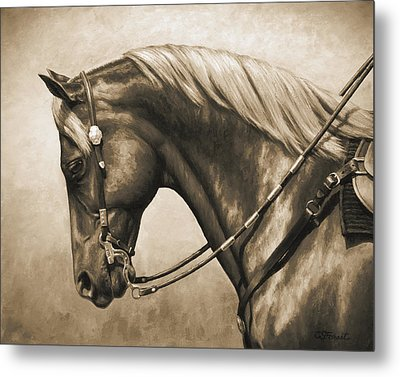 Western Horse Painting In Sepia Metal Print by Crista Forest