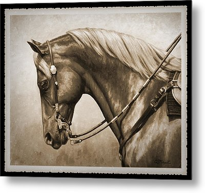 Western Horse Old Photo Fx Metal Print by Crista Forest