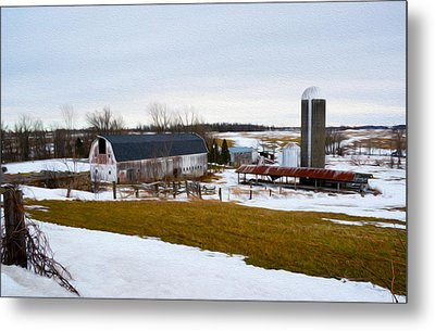 Western New York Farm As An Oil Painting Metal Print