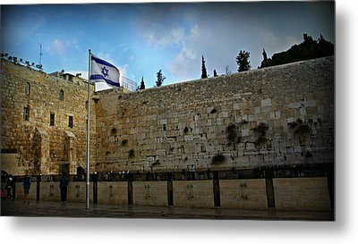 Western Wall And Israeli Flag Metal Print