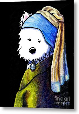 Westie Girl With Pearl Earring Metal Print by Kim Niles