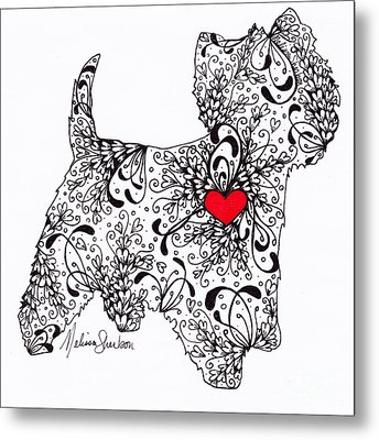 Metal Print featuring the drawing Westie by Melissa Sherbon