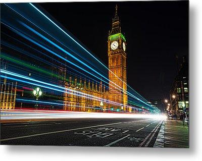 Westminster Light Trails Metal Print by Matt Malloy