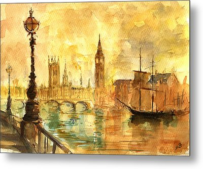 Westminster Palace London Thames Metal Print by Juan  Bosco