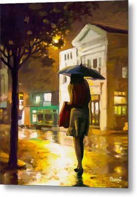 Wet Night Metal Print by Anthony Mwangi