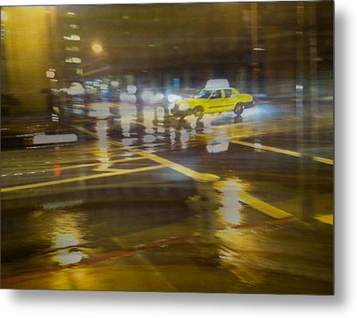 Metal Print featuring the photograph Wet Pavement by Alex Lapidus