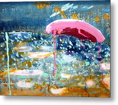 Metal Print featuring the painting Wet Sun by Leslie Byrne