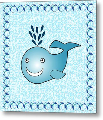 Whale - Animals - Art For Kids Metal Print by Anastasiya Malakhova