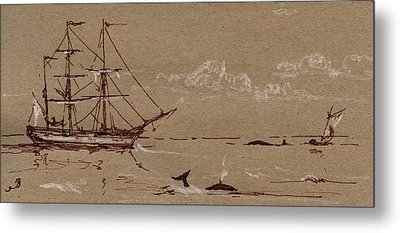 Whaler Ship Frigate Metal Print by Juan  Bosco