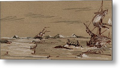 Whaler Ship Metal Print by Juan  Bosco