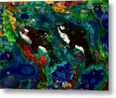 Whales At Sea - Orcas - Abstract Ink Painting Metal Print