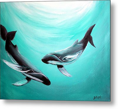 Metal Print featuring the painting Whales by Bernadette Krupa