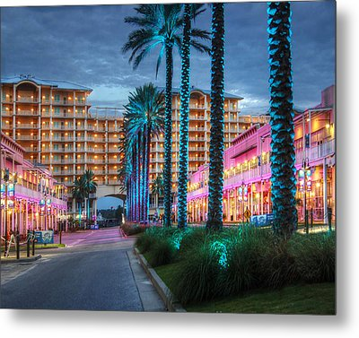 Metal Print featuring the photograph Wharf Blue Lighted Trees by Michael Thomas