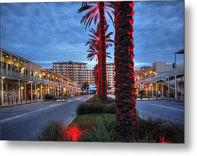 Metal Print featuring the digital art Wharf Red Lighted Trees by Michael Thomas