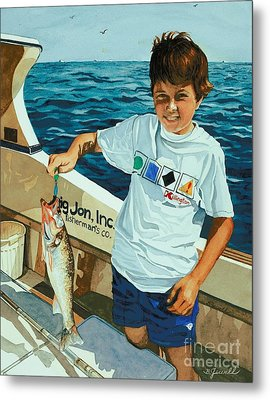 Metal Print featuring the painting What A Catch by Barbara Jewell