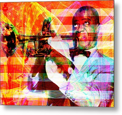 What A Wonderful World Louis Armstrong With Flag And Statue Of Liberty 20141218 Metal Print by Wingsdomain Art and Photography
