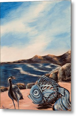 Metal Print featuring the painting What Did You Say? by Susan Culver