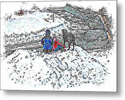 What Fascinates Children And Dogs -  Snow Day - Winter Metal Print by Barbara Griffin