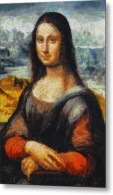 Metal Print featuring the painting What If Vincent Van Gogh Had Painted Mona Lisa? by Kai Saarto