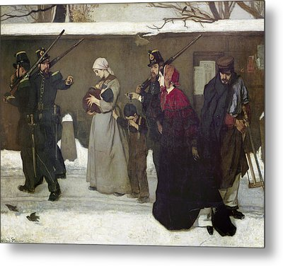 What Is Called Vagrancy Or, The Hunters Of Vincennes, 1854 Oil On Canvas Metal Print