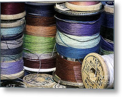 Spools Of Thread Metal Print by Jean OKeeffe Macro Abundance Art