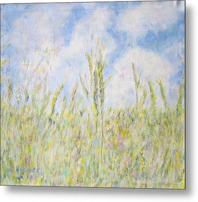 Wheat Field And Wildflowers Metal Print