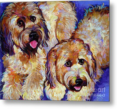 Metal Print featuring the painting Wheaten Terriers by Robert Phelps