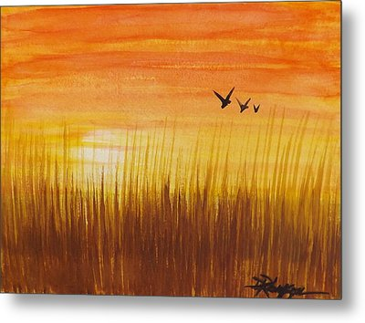 Wheatfield At Sunset Metal Print