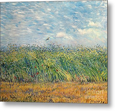 Wheatfield With Lark Metal Print