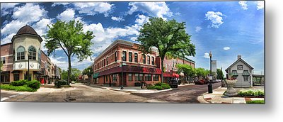 Wheaton Front Street Panorama Metal Print by Christopher Arndt