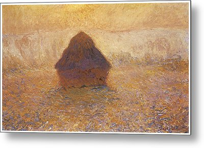 Wheatstack Sun In The Mist Metal Print by Claude Monet