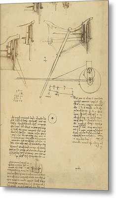 Wheels And Pins System Conceived For Making Smooth Motion Of Carts From Atlantic Codex Metal Print by Leonardo Da Vinci
