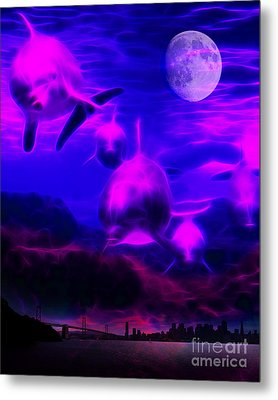 When Dolphins Cry Metal Print by Wingsdomain Art and Photography